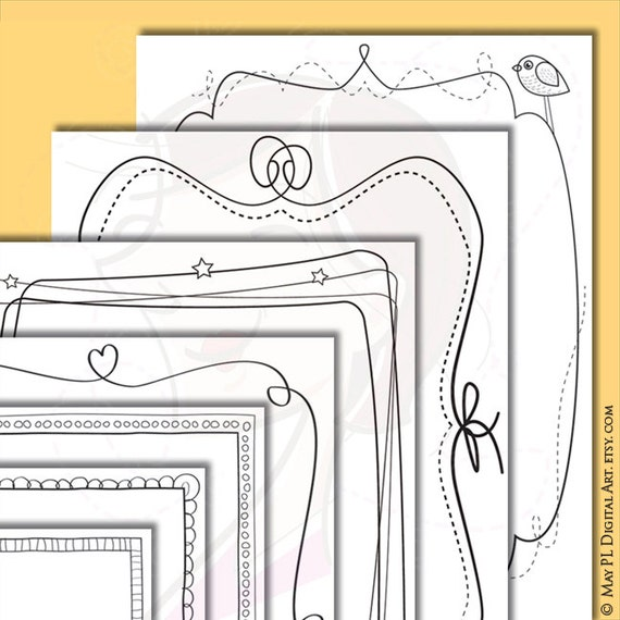 teacher printable page borders whimsical doodle frames whimsy designs children certificate handdrawn clipart 8x11 frame coloring