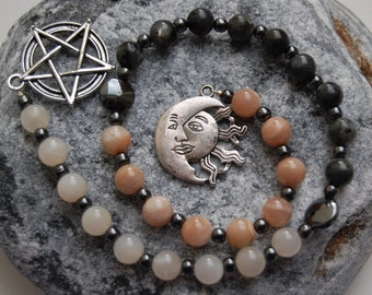 Celestial Solstice Pagan Prayer Beads / Witch's Ladder / Witches' Ladder. Pagan Druid Wicca Witch Sun Moon Stars Heavens Astrology Magic