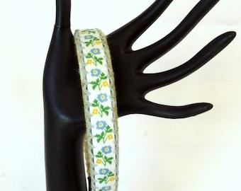 FALL SALE, Flower Fabric Hair Accessory - Spring Flower Headband - Vintage Headband - Embroidered Hair Band