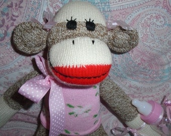 Baby Girl/Little Sister Brown Red Heel Sock Monkey Doll Baby Shower Gift