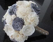 Wedding, Sola wood Bouquet, Burlap Bouquet, Grey Bouquet, Alternative Bouquet,  Bridal Bouquet, Sola flowers, Wood Bouquet