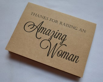 Thank you for raising an AMAZING WOMAN inlaw thank you card wedding card in-law card kraft thank you card inlaw card thank you parent cards