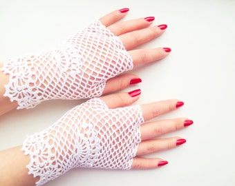 White bridal irish lace gloves,crochet jewelry,vintage fingerless glove,romantic wedding,summer fashion accessory,bohemian chic,gift for Her