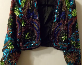LILLIE RUBIN Vintage Sequin Bolero Jacket
