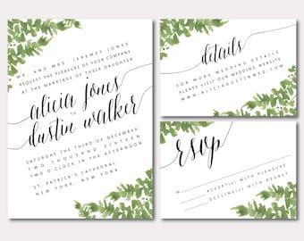 Printable Wedding Invitation Suite - Botanical Minimalist Slant - Watercolored Leaves