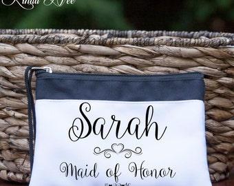 Personalized MAID of HONOR Cosmetic Wedding Bag, Bridal Party Bag, Bride Makeup Bag, Bridesmaid Toiletry Bag, Custom Makeup Bag, Bride CBP4