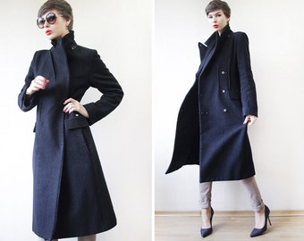 SONIA RYKIEL navy blue wool double breasted military princess coat S-M