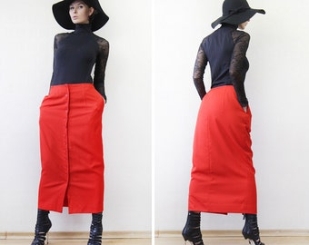 Vintage lipstick red button down ankle length high waist pencil maxi skirt M-L