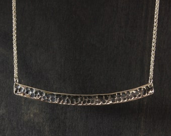 Antiqued Silver Bar Necklace