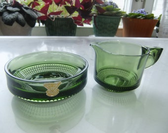 Vintage Swedish green glass Sugar bowl and creamer - Vineta Gullaskruf - Kjell Blomberg design