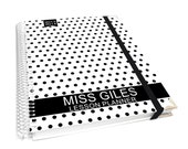 """personalized teacher lesson planner cover size 8X10"""" & pocket notebook - black dots and white - AGK40 PROMO"""