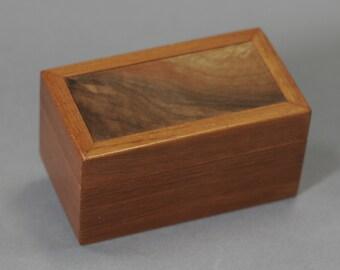 Small Jatoba wood box with a Walnut top. Wave grain. Keepsake Gift Jewelry box 4 9/16 X 2 1/2 X 2 3/8
