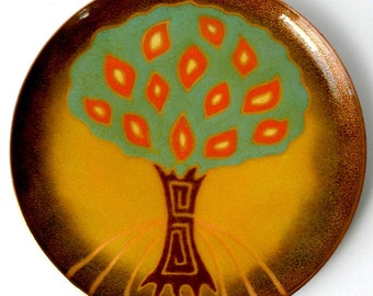 1970s Miquel PINEDA Los Castillo Signed Porcelain ENAMEL on COPPER Footed Plate 8in Unique Mid Century Stylized Tree Design Mexico Ex Cond