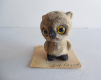 Mini Josef Original George-GOOD Flocked Baby Owlet Statuette Tiny Woodland Owl Bird Original Label Ornithologist Collectible Animal