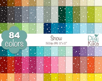 Snow Digital Papers - Rainbow Dots Papers - Snow Scrapbook Papers - Huge Paper Pack- INSTANT Download