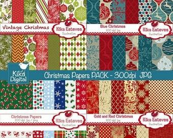 70% Sale Christmas Digital Papers Combo - Scrapbook , card design, invitations, paper crafts, web design - INSTANT DOWNLOAD