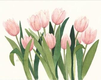 Pink Tulip Bunch Original Watercolor