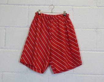 Upcycled Red Striped Mens Shorts