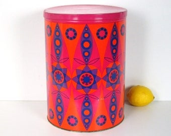 XL Tomado canister, orange, purple, hot pink, retro kitchen storage, The Netherlands, 1970s