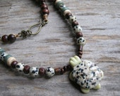 """Dalmation Jasper Turtle Necklace, 24"""" River Jade Tribal Beaded Necklace, Totem Animal Jewelry, Coconut Shell & Wood, Mens Womens Necklace"""