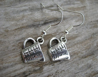 Tiny Measuring Cup Earrings, Antiqued Silver Earrings, Baker Earrings, Chef Jewelry, Baking Earrings, READY To SHIP