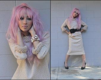 Vintage 60s Knit Suit Top & Wiggle Skirt Set Leslie Fay XS S M