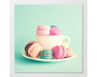 SALE Macarons, french macaroons, mint wall art, canvas art, kitchen print, kitchen art, canvas print large wall art macaroon mint decor art