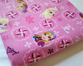 Elsa and Ana FROZEN Patch Glitter Fabric BTY - Ready to ship - 3 yards available
