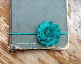 TEAL HEADBAND, Skinny Headband, Teal Baby Headband, Newborn Headband, Newborn Photo Prop, Shabby Chic Headband, Infant Headband, Newborn