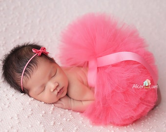 CORAL NEWBORN TUTU, Coral Tutu and Headband, Newborn Tutu, Baby Tutu, Coral Tutu, Newborn Photo Prop, Photo Prop, Tutu skirt