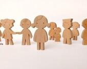 Eco friendly wooden toy - wooden doll - wood figurine - girl, boy