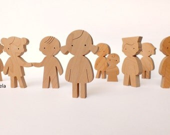 Eco friendly wooden toy - wooden doll - wood figurine - girl, boy