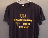 Vintage Navy Blue Stagehands Do It On Cue T-shirt Size Small Medium