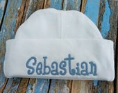 Baby boy hat, New born to 3 months, hospital hat, first photo hat, knit beanie in white or blue Personalized with a name included