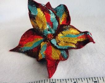 Burgundy Gold, Felt Flower, Hair Clip, women's flower clip, wine flower, autumn red flower, red gold flower clip, burgundy hair clip, fall