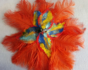 Orange Ostrich clip, Feather Hair Clip, 20's headpiece, 20s hair clip, flapper hair clip, Gatsby, 20s hair clip, 20s feather brooch, flapper