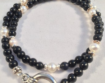 Bracelet:   DoubleWrap Onyx with Fresh-Water Pearls