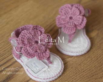 Crochet baby sandals, gladiator sandals, 0-3, 3-6 months, baby booties, baby shoes, slippers, baby girl sandals, summer shoes, baby shower