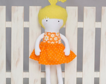 Rag Doll, 12 inches Dress Up Doll, Soft Doll, Handmade Cloth Doll, My Fashion Doll with orange and white dotted skirt