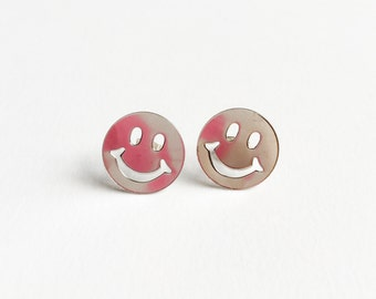 Happy face post earrings-smile face stud earrings-kawaii earrings-kitsch earrings-hipster earrings-vintage earrings-hisper-love factory ny