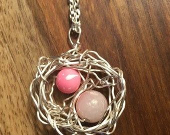 Nest necklace pink beads