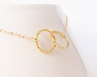 Gold Infinity Link Necklace, Eternity Circles, Bridesmaid Gift, Everday Simple Jewelry, Minimalist