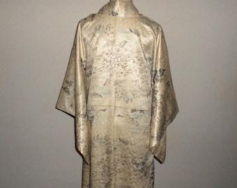 Vintage kimono - Landscape, Rinzu silk
