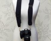 Black Scarf Camera Scarf, Soft Cotton DSLR Camera Strap,  Adjustable Camera Scarf Strap, Photographer's Gift, Accessory for Camera