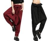 Woman Pants Linen Pants Harem Pants Big Drop-crotch Pants Loose Pants #P02
