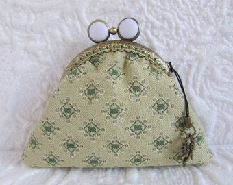 122A - Coin purse - Fabric with Metal Frame, handmade, wallet