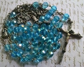 Rosary Vintage Blue Crystal Made in Italy Multiple Prayer Figures Stations after each Decade Heavy Crystal Detailed Catholic
