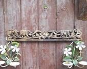Antique 1800s Breton French Country Farmhouse Carved Wood Elephant Crest Pediment Primitive Edwardian Victorian Prairie Cottage Wall Decor