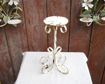 Vintage Wrought Iron White Candelabra Candle Holder Shabby French Country Rustic Wedding Primitive Antique Farmhouse Cottage Cabin Decor