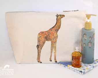 Giraffe Canvas Wash Bag, Large Zipper Pouch, Makeup Bag, Toiletry Bag, Accessory Bag